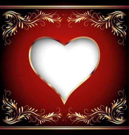 Card with decorative heart Vector
