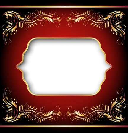 Background with golden ornament and elegant frame Vector