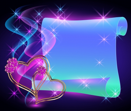 Scroll magic parchment, stars and two hearts Vectores