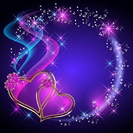 Decorative shiny hearts and stars