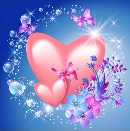 Pink hearts with flowers and sunshine