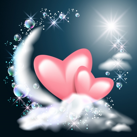 Moon and two hearts on the clouds in the night sky Vector