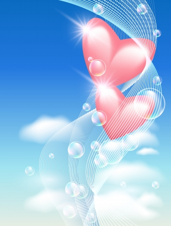 Pink hearts with bubbles in the sky Vector