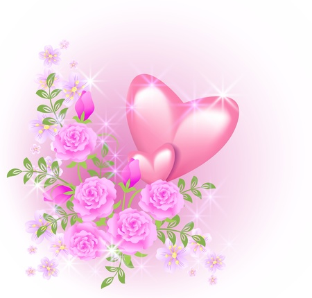 roses and hearts: Pink hearts with roses and stars