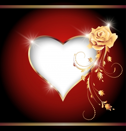 Card with decorative heart and golden rose Vector