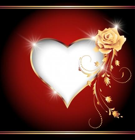 Kaart met decoratieve hart en gouden roos