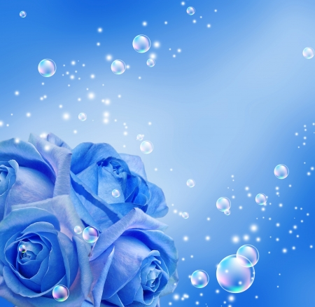 blue roses: Blue roses and bubbles Stock Photo