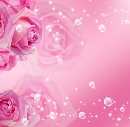 ピンクのバラ, 星, 泡 写真素材