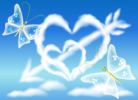 Cloud hearts in the sky and arrow Vector