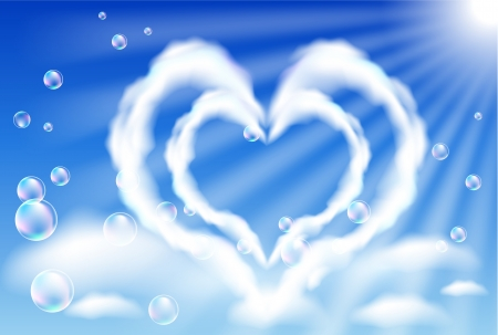 Cloud hearts in the sky and bubbles Stock Vector - 17627482