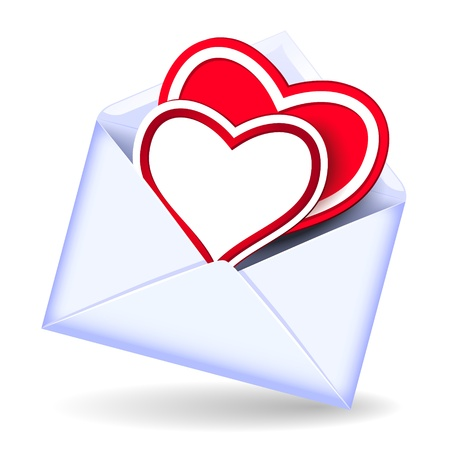 glued: Open envelope with two valentine hearts