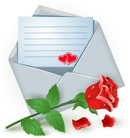 romanticism: Open envelope with red rose