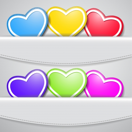 lapel: Set of colored valentine hearts Illustration