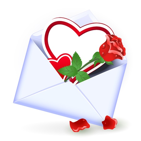 glued: Open envelope with red rose and heart Illustration