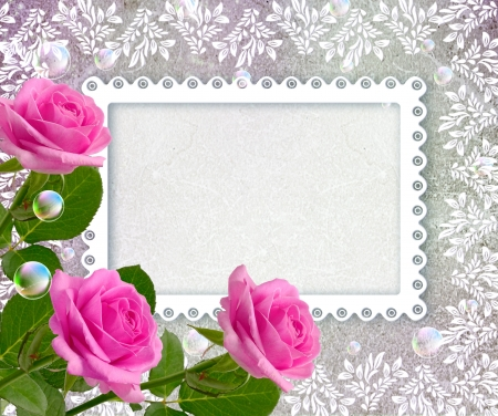 Old grunge background with roses and openwork frame Foto de archivo