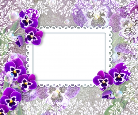 Old grunge background with pansies and openwork frame Stock Photo - 17825853