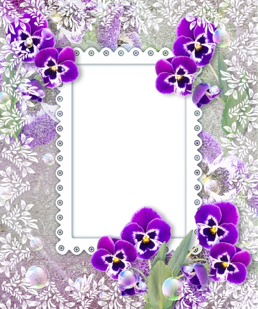 pansies: Old grunge background with pansies and openwork frame Stock Photo