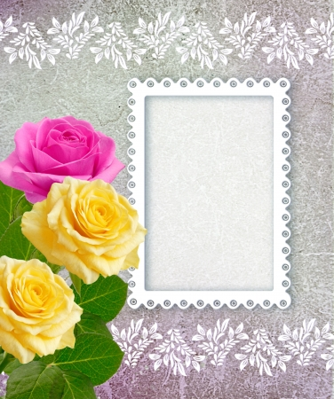 openwork: Old grunge background with roses and openwork frame Stock Photo