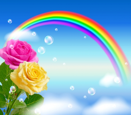 Yellow and pink roses on the sky background with rainbow photo