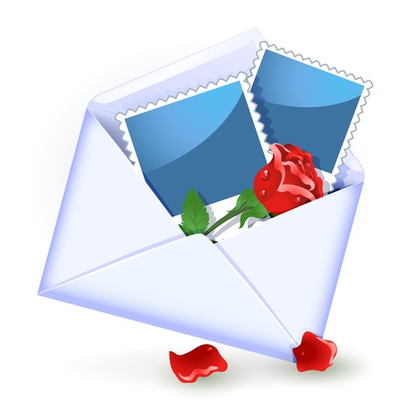 glued: Open envelope with red rose and photography Illustration