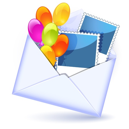 Open envelope with colorful balloons and photography Vector