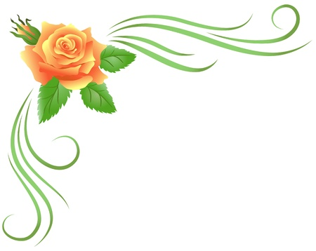 Corner floral ornament with yellow rose Illustration