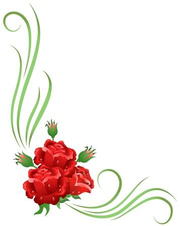 赤いバラとコーナーの花飾り