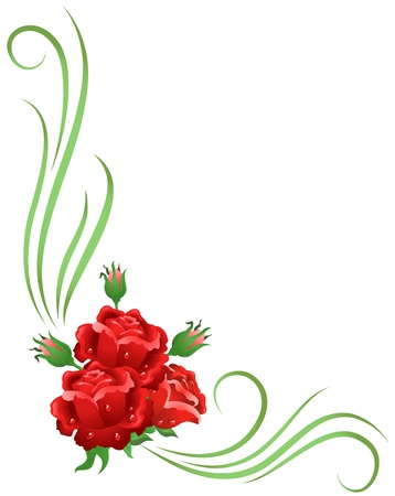 Corner floral ornament with red roses