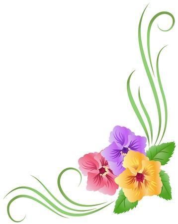 violeta: Esquina floral ornamento con pensamiento Vectores