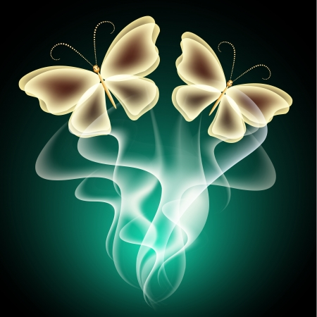 butterfly wings: Glowing background with smoke and  butterflies Illustration