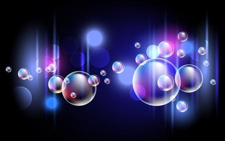 泡と輝く背景  イラスト・ベクター素材