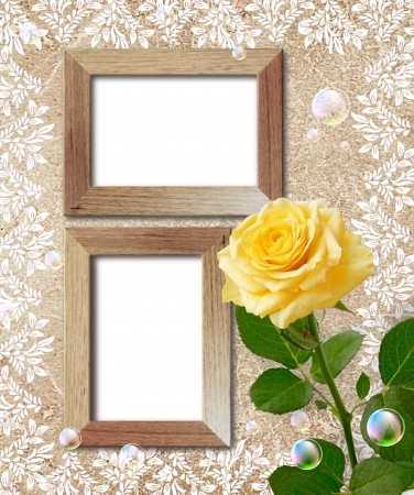 Old grunge background with yellow rose and wooden frame photo