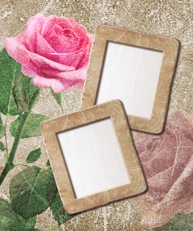 flower border pink: Old grunge background with pink roses and photo frame Stock Photo