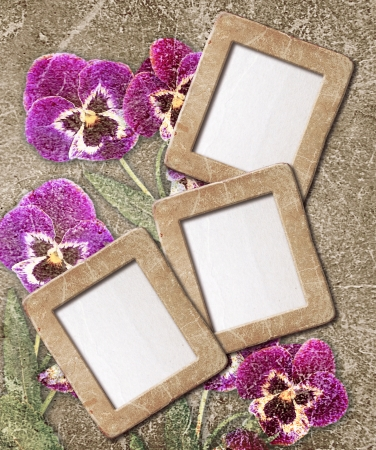 Old grunge background with  pansies and photo frame Stock Photo - 18064912