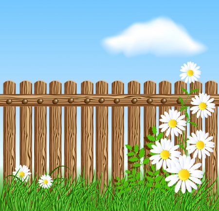 enclosure: Wooden fence on green grass with daisy against the sky and clouds house