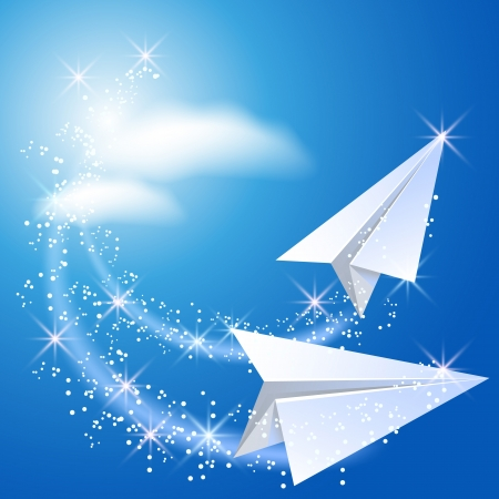 fly up: Two paper airplane fly up in the sky