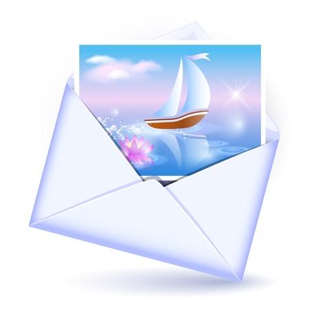 Enveloppe ouverte et carte avec l'image voilier Vecteurs