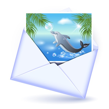 embedded: Open envelope and card with image dolphin Illustration