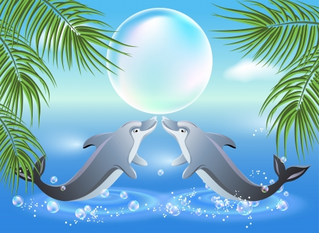 Dolphins leaps from water on the background of clouds and palms Stock Vector - 18570955
