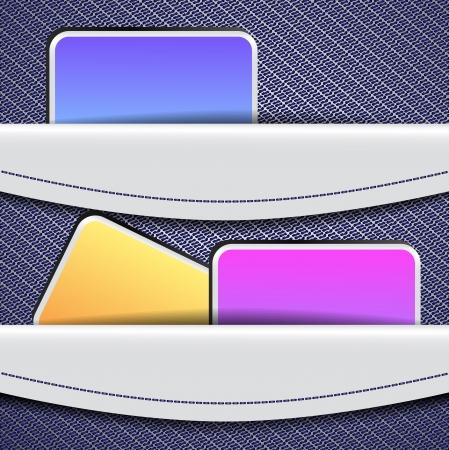 lapel: Sample banner design with jeans pockets Illustration