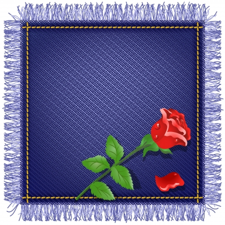 Napkin from jeans fabric with fringe and red rose Vector