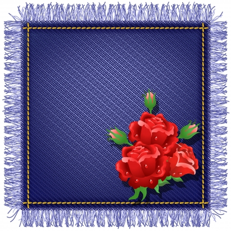 Napkin from jeans fabric with fringe and red roses Vector