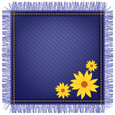 Napkin from jeans fabric with fringe and yellow flowers Vector