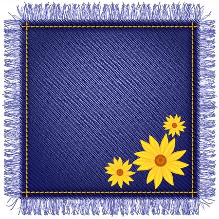 threadbare: Tovagliolo di tessuto jeans con frange e fiori gialli