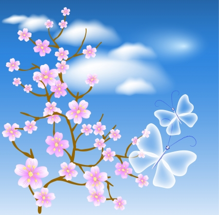 clear blue sky: Flowering tree against a background of clouds and transparent butterflies Illustration