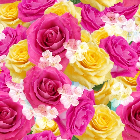 Yellow and pink roses  Seamless  pattern  photo