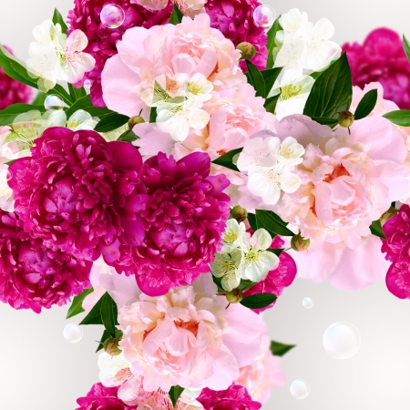 Peony, white flowers and bubbles  Seamless  pattern Stock Photo - 18688299