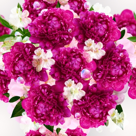 Seamless pattern  Peony, white flowers and bubbles Stock Photo - 18689167