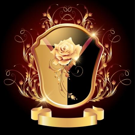 escudo de armas: Medieval escudo her�ldico adornado adorno dorado y rosa