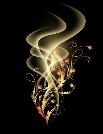 smoke effect: Glowing background with smoke and golden ornament